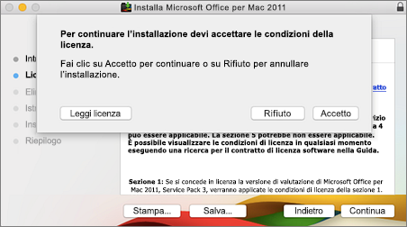Screenshot della finestra per accettare il contratto di licenza software