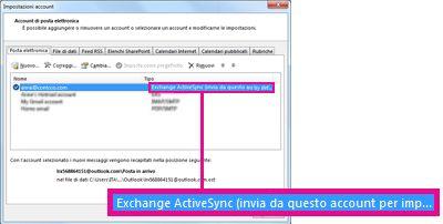Account di Microsoft Exchange visualizzato nella finestra di dialogo Impostazioni account