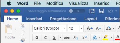 Barra multifunzione in Word per Mac in tema colorato