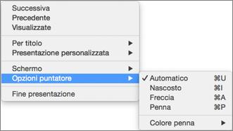 Premere CTRL+clic per visualizzare un elenco dei comandi durante la registrazione