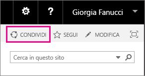 Screenshot del controllo Condividi per la condivisione di un sito