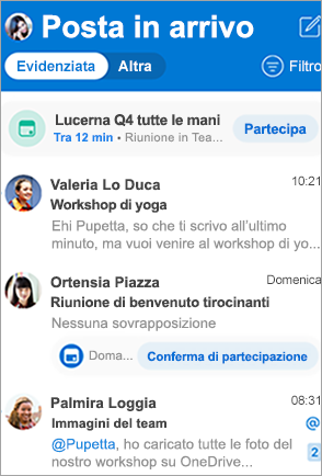 Mostra la posta in arrivo di Outlook