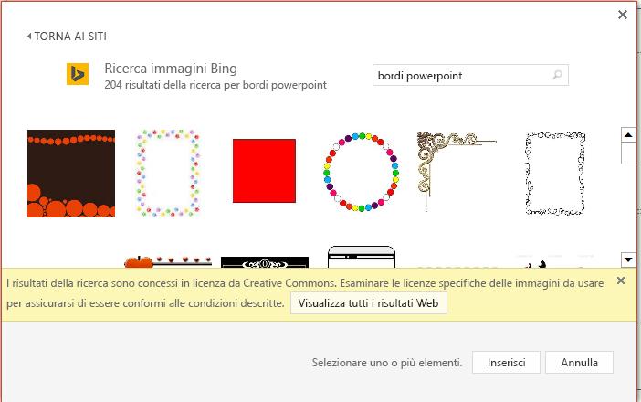 Risultati di una ricerca per i bordi di PowerPoint in Bing.