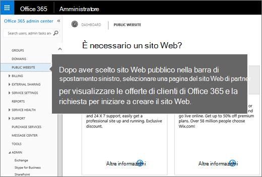 In Office 365 scegliere Sito Web pubblico