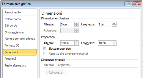 Scheda dimensioni in formato Area grafico