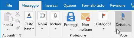 Opzione Dettatura nel messaggio di posta elettronica