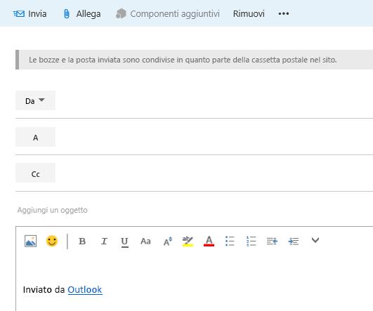 Aggiungere gli indirizzi a un messaggio di posta elettronica nella cassetta postale del sito