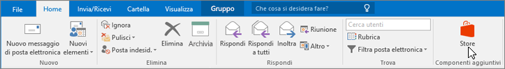 Screenshot che mostra la scheda Home in Outlook con il cursore posizionato sull'icona Store nel gruppo Componenti aggiuntivi.
