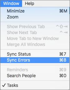 Menu finestra con errori di sincronizzazione evidenziato