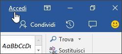 Screenshot che mostra il collegamento di accesso in un'applicazione desktop di Office