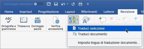 Scheda Revisione con Traduci selezione evidenziato