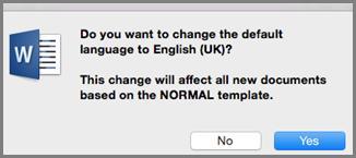 Impostazione della lingua predefinita in Office per Mac