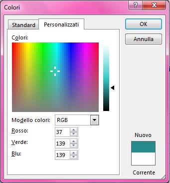 Opzione di sfumatura personalizzata dei colori