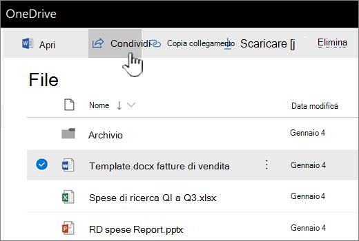 OneDrive con file selezionati e vengano applicate pulsante Condividi