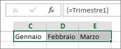 Costante denominata usata in una formula in forma di matrice