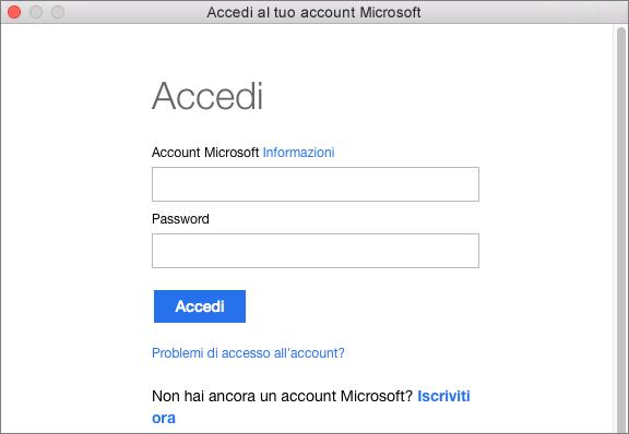 Immettere le credenziali dell'account Microsoft per accedere ai servizi associati.