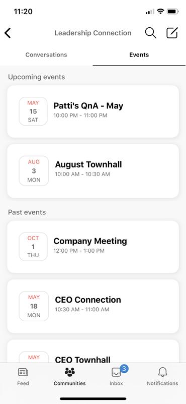 Screenshot che mostra l'individuazione di eventi LIEE su dispositivi mobili