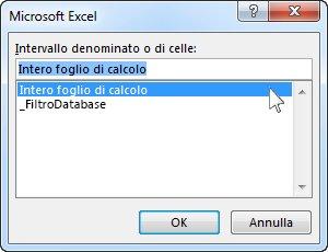 Finestra di dialogo Microsoft Excel in Word