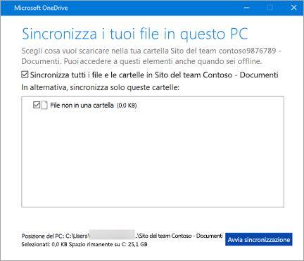 Chiedi conferma sincronizzare i file di Office 365 SharePoint-