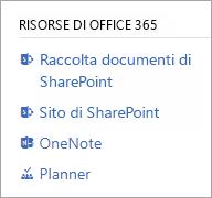 Sezione risorse di Office 365 per un gruppo connesso