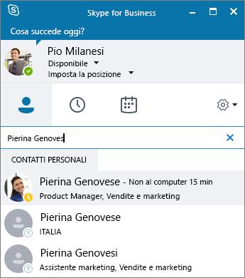 Screenshot della finestra di Skype for Business con la ricerca di un contatto da aggiungere.
