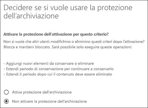 Pagina Protezione dell'archiviazione