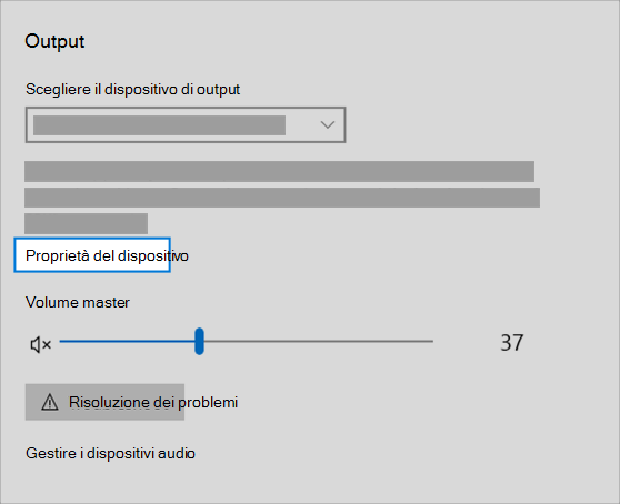 collegamento alle proprietà del dispositivo di output audio nel menu audio