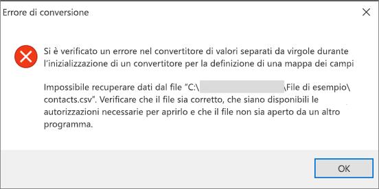 Questo messaggio di errore viene visualizzato quando il file CSV è vuoto.