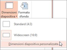 Opzione di menu Dimensioni diapositiva personalizzate