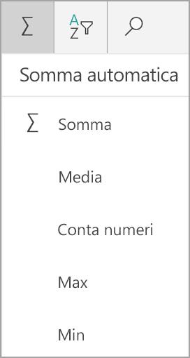 Somma di Excel per tablet Windows