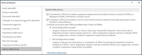Sezione Opzioni privacy nelle impostazioni del Centro protezione di Office per Windows
