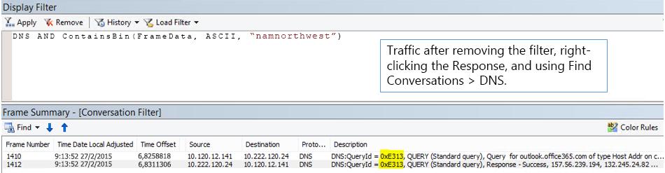 Traccia filtrata per Trova conversazioni quindi per DNS.