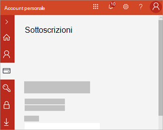 Screenshot del portale dell'account personale