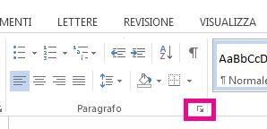 È possibile aprire la finestra di dialogo Paragrafo facendo clic sull'icona Espandi.