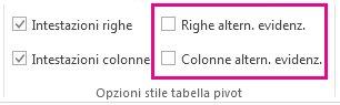 Caselle Righe alternate evidenziate e Colonne alternate evidenziate nella scheda Progettazione