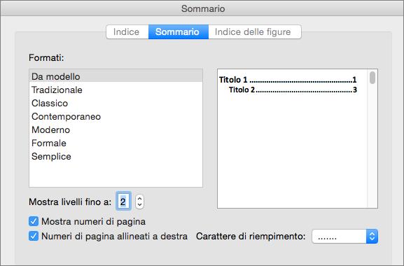 Nella finestra di dialogo Sommario, nella scheda Sommario, selezionare le impostazioni per il sommario del documento.