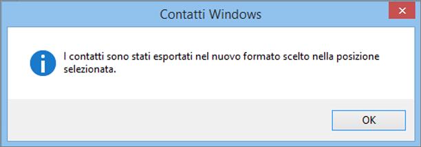 Verrà visualizzato un messaggio finale che indica che i contatti sono stati esportati in un file CSV.