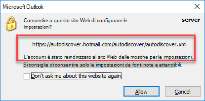 Outlook reindirizza all'individuazione automatica