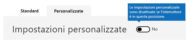 In questo screenshot le impostazioni personalizzate del criterio di filtro della posta indesiderata sono disattivate.