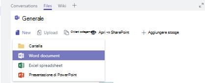 Creare o caricare un nuovo file in una raccolta di file del canale