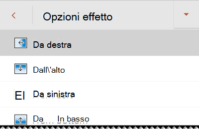 Opzioni effetto in PowerPoint per telefono Android.