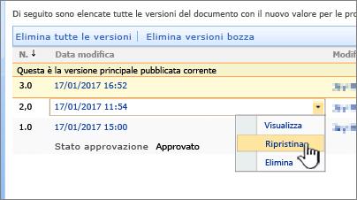 Elenco a discesa del controllo delle versioni con il comando Ripristina evidenziato