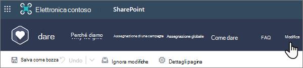 Opzione modifica nella parte superiore di una pagina moderna di SharePoint quando si lavora in un sito