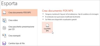 Salvare una presentazione come PDF