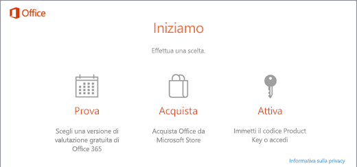 Screenshot che mostra le opzioni predefinite Prova, Acquista o Attiva per un PC con Office preinstallato.