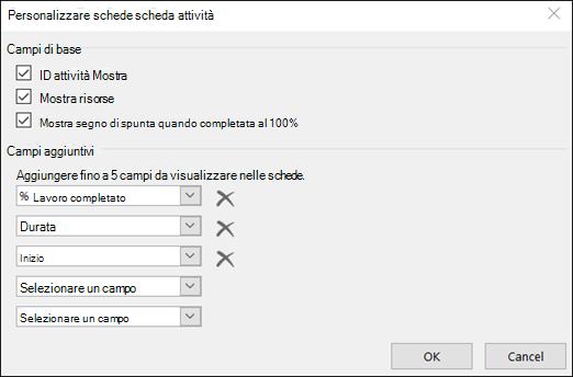 Personalizzare le impostazioni di configurazione della scheda