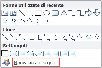 Opzione Nuova area di disegno in Word 2010