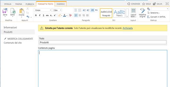 Schermata di una nuova pagina di pubblicazione con una barra gialla che indica che la pagina è estratta