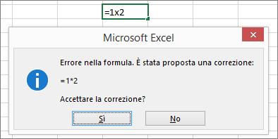 Finestra di messaggio che chiede di sostituire x con * per la moltiplicazione