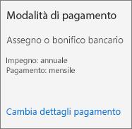 Screenshot della sezione Modalità di pagamento di una scheda di abbonamento per un abbonamento pagato tramite fattura.